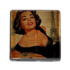 Vintage Newspaper Print Pin Up Girl Paris Eiffel Tower Memory Card Reader with Storage (Square)