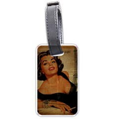 Vintage Newspaper Print Pin Up Girl Paris Eiffel Tower Luggage Tag (Two Sides)