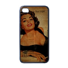 Vintage Newspaper Print Pin Up Girl Paris Eiffel Tower Apple iPhone 4 Case (Black)