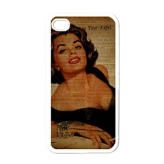 Vintage Newspaper Print Pin Up Girl Paris Eiffel Tower Apple Iphone 4 Case (white)