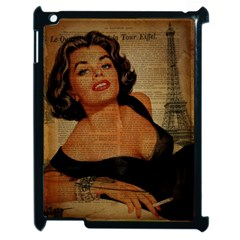 Vintage Newspaper Print Pin Up Girl Paris Eiffel Tower Apple iPad 2 Case (Black)
