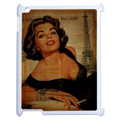 Vintage Newspaper Print Pin Up Girl Paris Eiffel Tower Apple iPad 2 Case (White)
