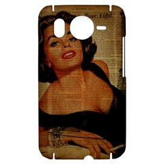 Vintage Newspaper Print Pin Up Girl Paris Eiffel Tower HTC Desire HD Hardshell Case