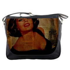 Vintage Newspaper Print Pin Up Girl Paris Eiffel Tower Messenger Bag