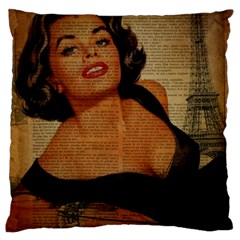 Vintage Newspaper Print Pin Up Girl Paris Eiffel Tower Large Cushion Case (two Sided)