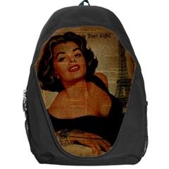 Vintage Newspaper Print Pin Up Girl Paris Eiffel Tower Backpack Bag