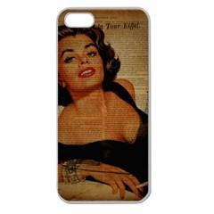 Vintage Newspaper Print Pin Up Girl Paris Eiffel Tower Apple Seamless iPhone 5 Case (Clear)