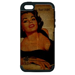 Vintage Newspaper Print Pin Up Girl Paris Eiffel Tower Apple Iphone 5 Hardshell Case (pc+silicone)