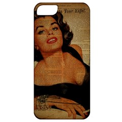 Vintage Newspaper Print Pin Up Girl Paris Eiffel Tower Apple Iphone 5 Classic Hardshell Case