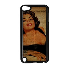 Vintage Newspaper Print Pin Up Girl Paris Eiffel Tower Apple Ipod Touch 5 Case (black)