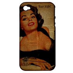 Vintage Newspaper Print Pin Up Girl Paris Eiffel Tower Apple iPhone 4/4S Hardshell Case (PC+Silicone)