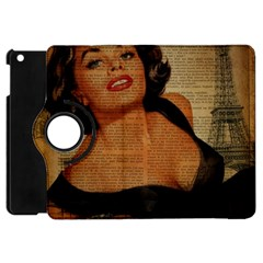 Vintage Newspaper Print Pin Up Girl Paris Eiffel Tower Apple iPad Mini Flip 360 Case