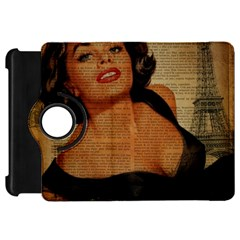 Vintage Newspaper Print Pin Up Girl Paris Eiffel Tower Kindle Fire Hd 7  Flip 360 Case