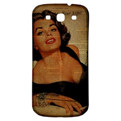 Vintage Newspaper Print Pin Up Girl Paris Eiffel Tower Samsung Galaxy S3 S III Classic Hardshell Back Case