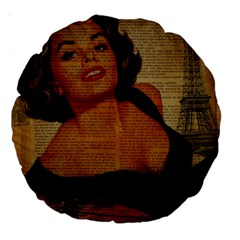 Vintage Newspaper Print Pin Up Girl Paris Eiffel Tower 18  Premium Round Cushion