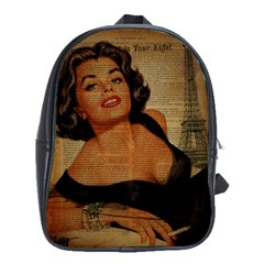 Vintage Newspaper Print Pin Up Girl Paris Eiffel Tower School Bag (XL)
