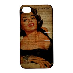 Vintage Newspaper Print Pin Up Girl Paris Eiffel Tower Apple Iphone 4/4s Hardshell Case With Stand