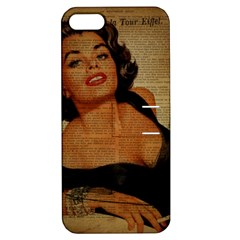 Vintage Newspaper Print Pin Up Girl Paris Eiffel Tower Apple iPhone 5 Hardshell Case with Stand