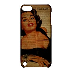 Vintage Newspaper Print Pin Up Girl Paris Eiffel Tower Apple iPod Touch 5 Hardshell Case with Stand