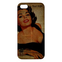 Vintage Newspaper Print Pin Up Girl Paris Eiffel Tower iPhone 5 Premium Hardshell Case