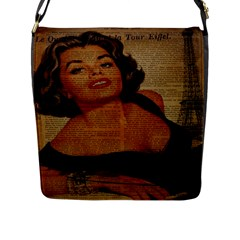 Vintage Newspaper Print Pin Up Girl Paris Eiffel Tower Flap Closure Messenger Bag (large)