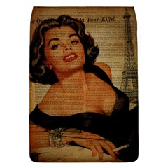 Vintage Newspaper Print Pin Up Girl Paris Eiffel Tower Removable Flap Cover (large)