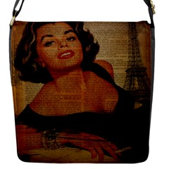 Vintage Newspaper Print Pin Up Girl Paris Eiffel Tower Flap closure messenger bag (Small)