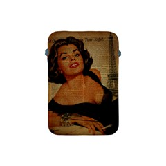 Vintage Newspaper Print Pin Up Girl Paris Eiffel Tower Apple iPad Mini Protective Soft Case