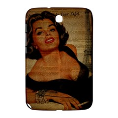 Vintage Newspaper Print Pin Up Girl Paris Eiffel Tower Samsung Galaxy Note 8 0 N5100 Hardshell Case