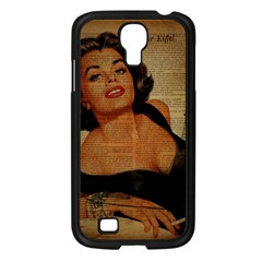 Vintage Newspaper Print Pin Up Girl Paris Eiffel Tower Samsung Galaxy S4 I9500/ I9505 (black)