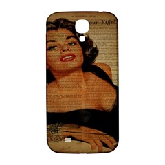 Vintage Newspaper Print Pin Up Girl Paris Eiffel Tower Samsung Galaxy S4 I9500/I9505  Hardshell Back Case