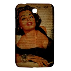 Vintage Newspaper Print Pin Up Girl Paris Eiffel Tower Samsung Galaxy Tab 3 (7 ) P3200 Hardshell Case