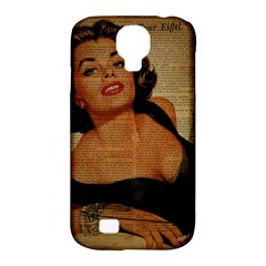 Vintage Newspaper Print Pin Up Girl Paris Eiffel Tower Samsung Galaxy S4 Classic Hardshell Case (PC+Silicone)