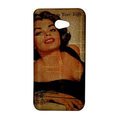 Vintage Newspaper Print Pin Up Girl Paris Eiffel Tower HTC Butterfly S/HTC 9060 Hardshell Case