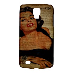 Vintage Newspaper Print Pin Up Girl Paris Eiffel Tower Samsung Galaxy S4 Active (i9295) Hardshell Case