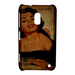 Vintage Newspaper Print Pin Up Girl Paris Eiffel Tower Nokia Lumia 620 Hardshell Case