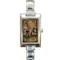 Vintage Newspaper Print Sexy Hot Pin Up Girl Paris Eiffel Tower Rectangular Italian Charm Watch