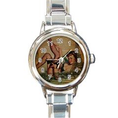 Vintage Newspaper Print Sexy Hot Pin Up Girl Paris Eiffel Tower Round Italian Charm Watch
