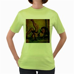 Vintage Newspaper Print Sexy Hot Pin Up Girl Paris Eiffel Tower Womens  T Shirt (green)