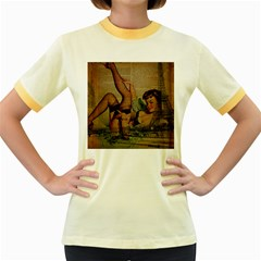 Vintage Newspaper Print Sexy Hot Pin Up Girl Paris Eiffel Tower Womens  Ringer T-shirt (Colored)