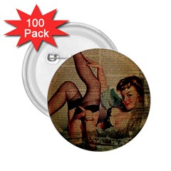 Vintage Newspaper Print Sexy Hot Pin Up Girl Paris Eiffel Tower 2.25  Button (100 pack)