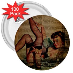 Vintage Newspaper Print Sexy Hot Pin Up Girl Paris Eiffel Tower 3  Button (100 Pack)