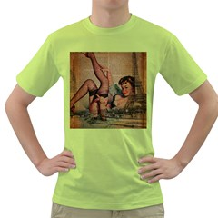 Vintage Newspaper Print Sexy Hot Pin Up Girl Paris Eiffel Tower Mens  T-shirt (Green)