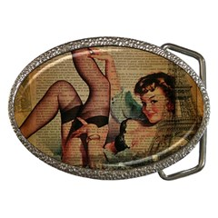 Vintage Newspaper Print Sexy Hot Pin Up Girl Paris Eiffel Tower Belt Buckle (Oval)