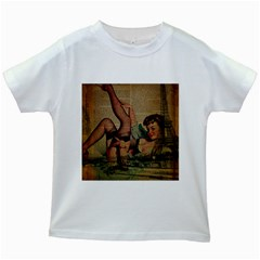 Vintage Newspaper Print Sexy Hot Pin Up Girl Paris Eiffel Tower Kids' T-shirt (White)