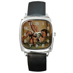 Vintage Newspaper Print Sexy Hot Pin Up Girl Paris Eiffel Tower Square Leather Watch