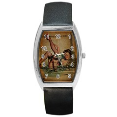 Vintage Newspaper Print Sexy Hot Pin Up Girl Paris Eiffel Tower Tonneau Leather Watch