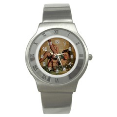 Vintage Newspaper Print Sexy Hot Pin Up Girl Paris Eiffel Tower Stainless Steel Watch (Unisex)
