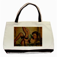 Vintage Newspaper Print Sexy Hot Pin Up Girl Paris Eiffel Tower Twin Sided Black Tote Bag