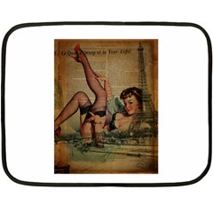 Vintage Newspaper Print Sexy Hot Pin Up Girl Paris Eiffel Tower Mini Fleece Blanket (Two Sided)
